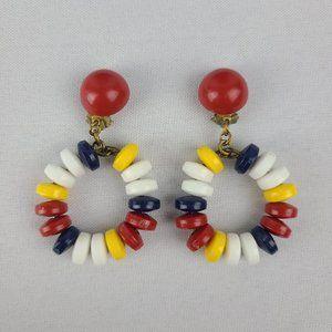 Vintage Red & Blue Beaded Hoop Clip On Earrings